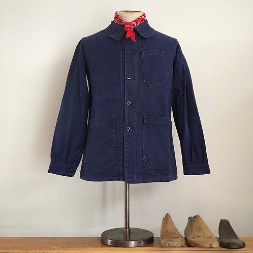 True Vintage 1950s French Bleu de Travail Workwear Jacket S
