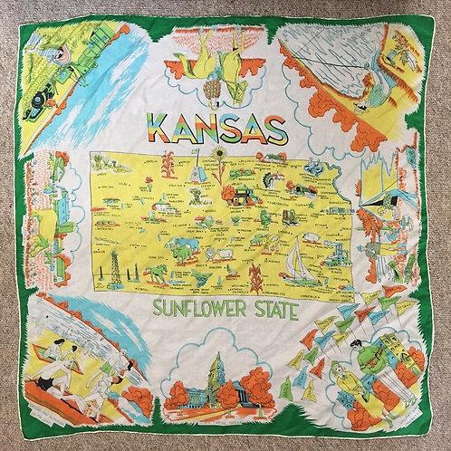 True Vintage 1950s/60s USA  Kansas Silk Rayon Souvenir Scarf