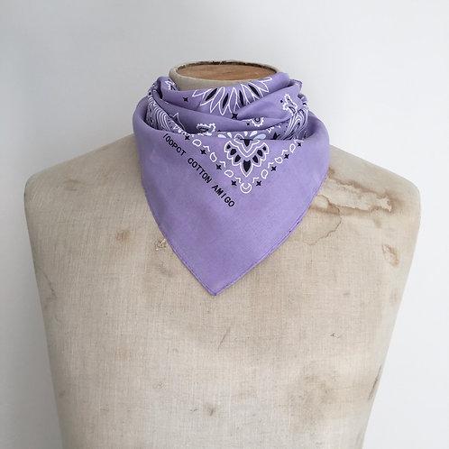 Vintage Style Bandana Neckerchief Scarf/ Purple