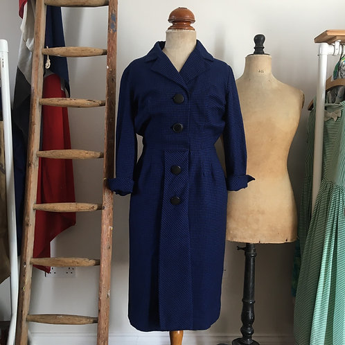 """True Vintage 1950s Dogtooth Check Wool Dress UK8 10 W27"""""""