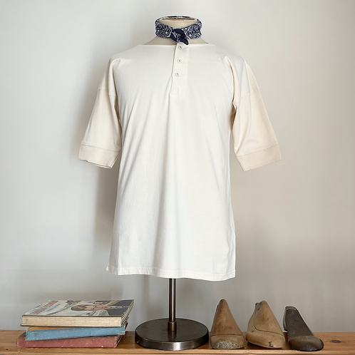 Vintage Style 100% Cotton Jersey Short- Sleeved Henley Shirt M