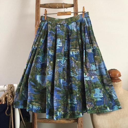 "True Vintage 1950s Painterly Print Cotton Skirt UK8 10 W28"""