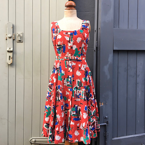 "True Vintage 1950s Fred Howard Painterly Print Dress UK10- 12 W29"""