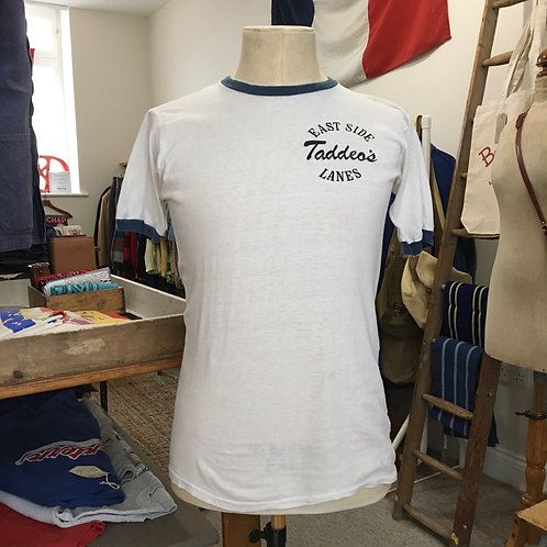 True Vintage 1970s/80s USA Taddeo's East Side Lanes Tee- Shirt M