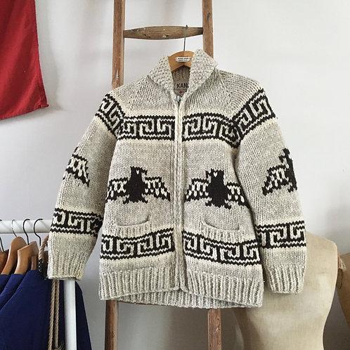 True Vintage Canadian Kanata Eagle Wool Knit Cowichan Cardigan XS S M