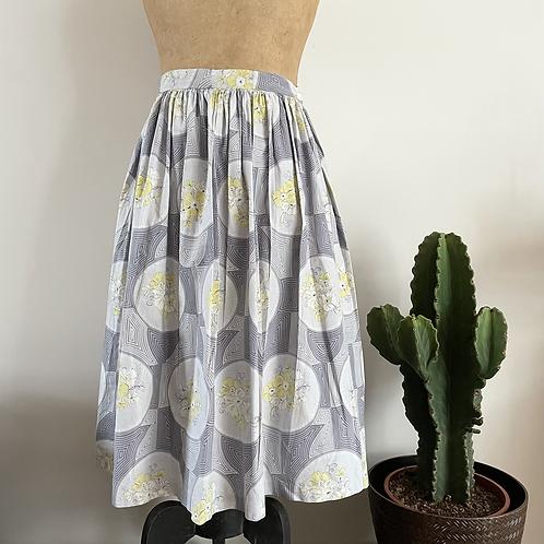 """True Vintage 1950s Floral Print Cotton Skirt UK12 W30"""""""