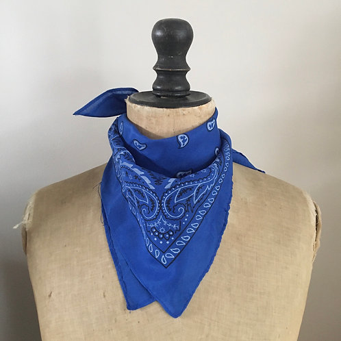 Vintage Style Bandana Neckerchief Scarf/ Medium Blue
