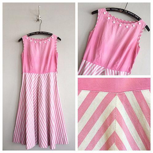 "True Vintage 1950s Pink Striped Cotton Dress UK8 10 W28"""