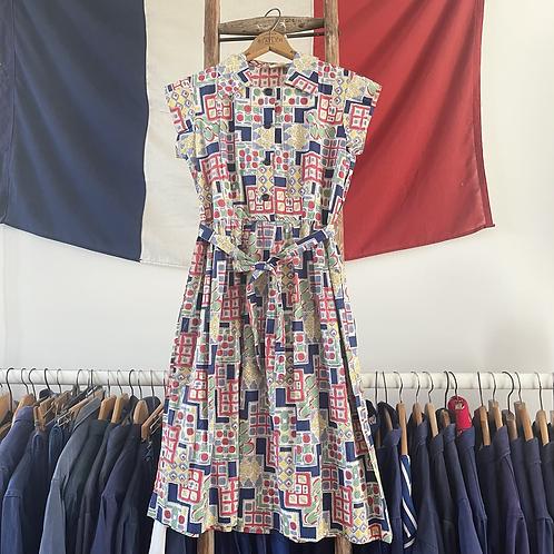 True Vintage 1940s USA Belle of My Heart Print Dress UK8 XS/S