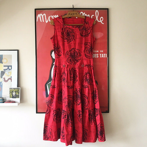 """True Vintage 1950s Red Roses Cotton Tiered Dress UK10 W29"""""""