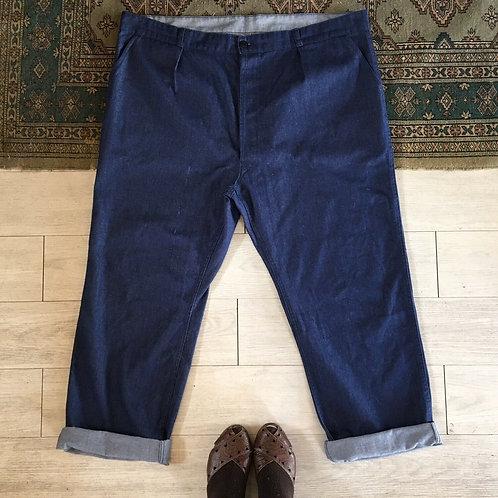 """Vintage French Denim Workwear Trousers W44"""" 46"""""""