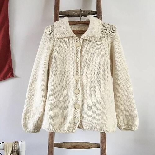 True Vintage 1960s Hand Knit Wool Cowichan Cardigan M L