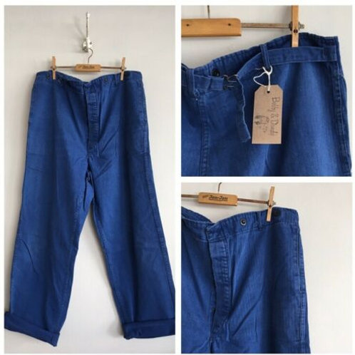 Vintage Cotton Cinch Back Workwear Trousers W39""