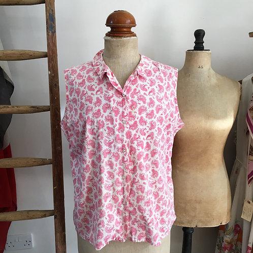 Vintage 1950s 'Dearborn' Pink Paisley Shirt UK14 16 L