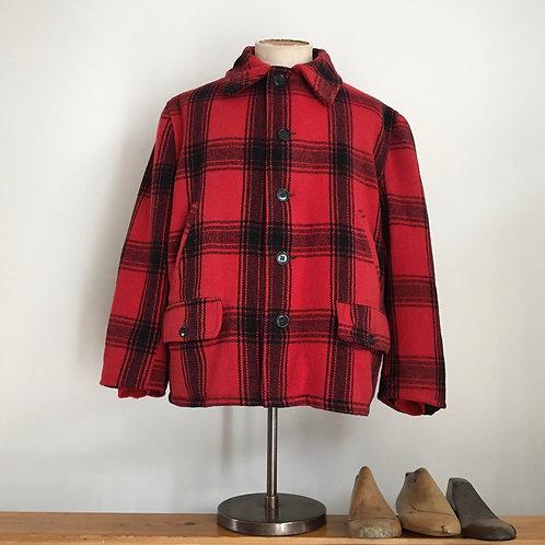 True Vintage USA 1960s/70s Check Wool Hunting Jacket L XL