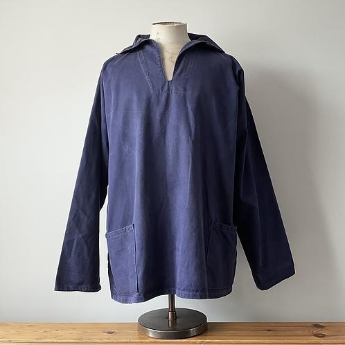Vintage Cornish Indigo Workwear Popover Smock XL XXL