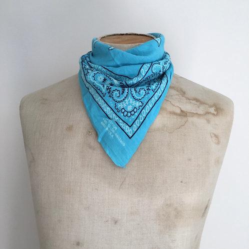 Vintage USA Bandana Neckerchief Scarf/ Blue