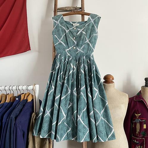 "True Vintage 1950s Fredrica of London/ Frederick Starke Cotton Dress UK8 10 W27"""