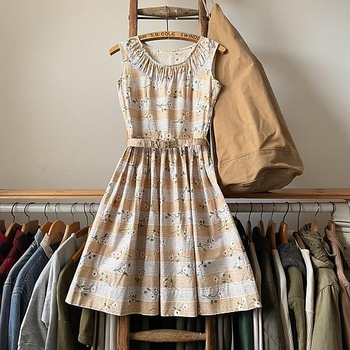 """True Vintage 1940s/50s Floral Print Belted Dress UK8 10 W28"""""""
