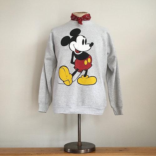 True Vintage 1990s USA Mickey Mouse Grey Marl Sweatshirt M