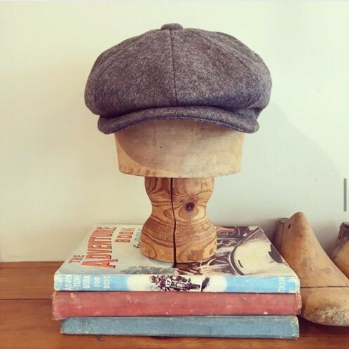 Vintage 1940s/50s Style Grey Wool Newsboy Cap L/XL