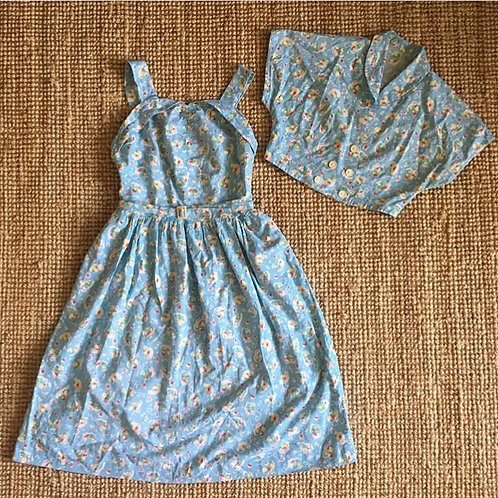 True Vintage 1940s/50s Dress & Jacket Two- Piece UK8