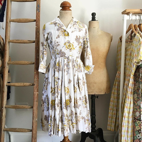 True Vintage 1950s Roses Print Cotton Dress UK8 10
