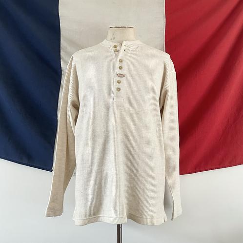Vintage Ribbed 100% Cotton Henley Shirt L