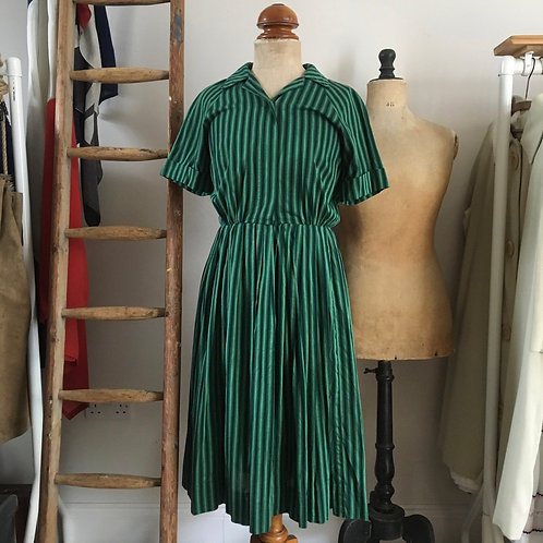 True Vintage 1950s/60s Striped Dress UK8- 10 W27""