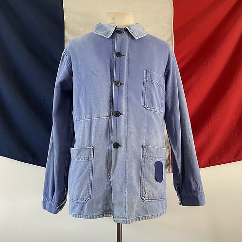True Vintage 1960s French Super Dolmen Faded Patched Workwear Jacket M