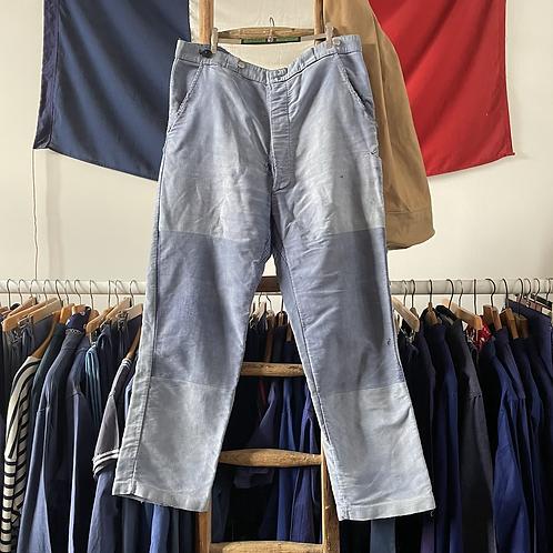 """True Vintage French 1940s Bleu de Travail Faded Moleskin Workwear Trousers W36"""""""