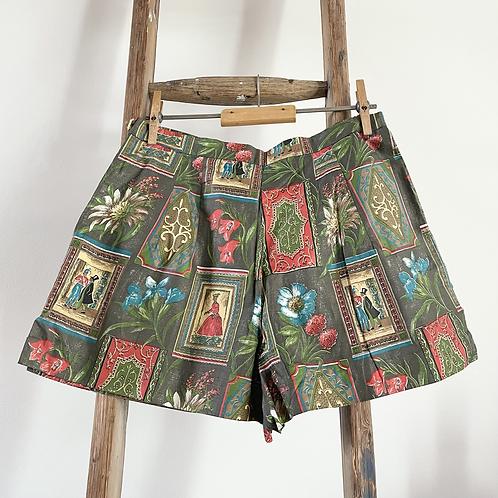 "True Vintage 1950s Novelty Print Cotton Shorts UK8 10 W28"""