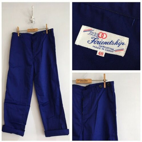 """Vintage Chinese Deadstock Cotton Chore Trousers W33"""" 34"""""""