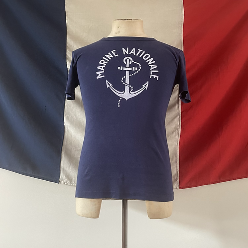 True Vintage 1960s/70s French Marine Nationale Naval Tee- Shirt S