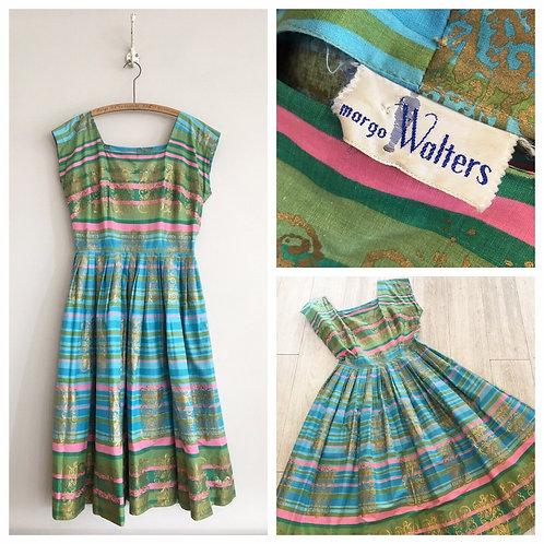 "True Vintage 1950s USA Margot Walters Designer Painted Cotton Dress UK10 W28"""