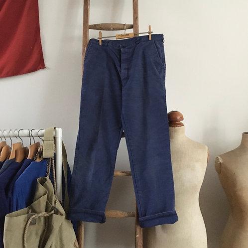 """True Vintage French Bleu de Travail Moleskin Workwear Trousers W32"""" 33"""""""