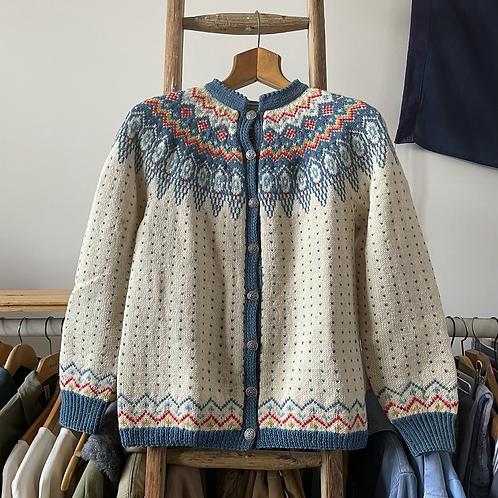 Vintage Norwegian Norsk Husflid Wool Hand Knit Cardigan UK8 10 12