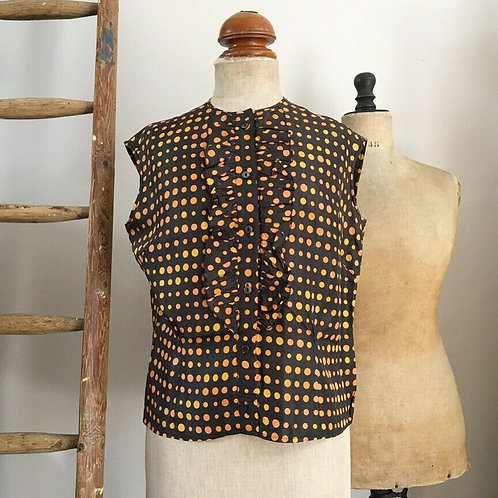 True Vintage 1960s Polka Dot Ruffle Blouse UK14