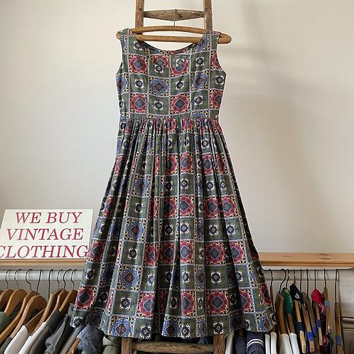 "True Vintage 1950s Cotton Print Dress UK8 10 W28"""
