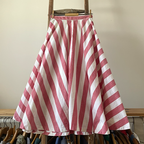 "True Vintage 1940s Candy Stripe Cotton Circle Skirt UK6 W24"""