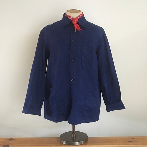 Vintage German Herringbone Cotton Workwear Jacket L/XL