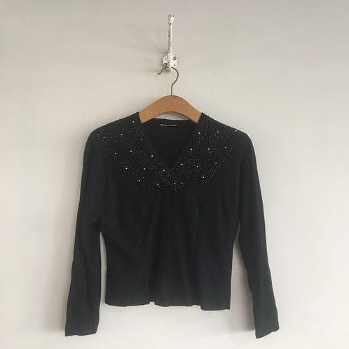 True Vintage 1930s/40s Black Wool Beaded Top