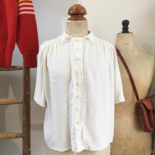True Vintage 1940s Guy Ric Crepe Lace Blouse L