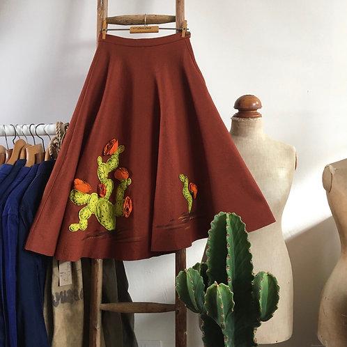 "True Vintage 1950s USA Fay Foster Originals Novelty Design Skirt UK6 W24"""
