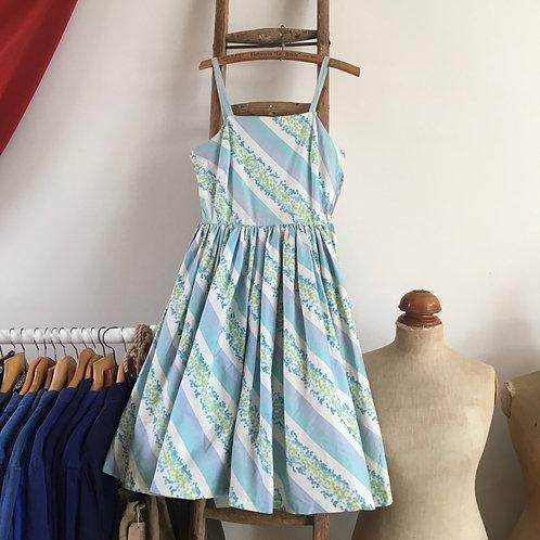 """True Vintage 1950s Swedish Striped Print Dress UK8 W26"""""""