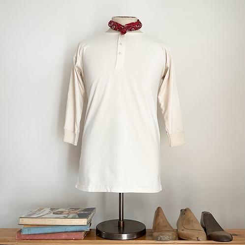 Vintage Style 100% Cotton Jersey Henley Shirt M