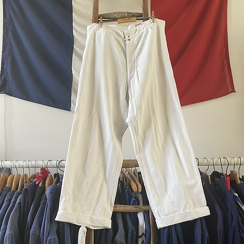 """True Vintage 1940s/50s French Robur White Workwear Trousers W36"""""""