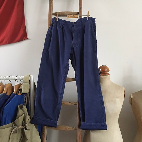 True Vintage French Bleu de Travail Sanforised Workwear Trousers W33""