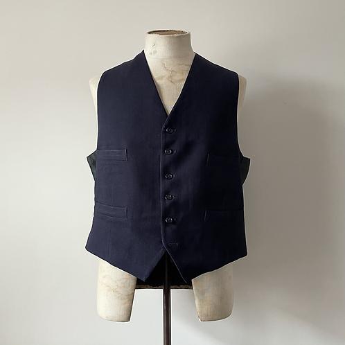 """Vintage Cinch Back Navy Herringbone Waistcoat XL 44"""""""