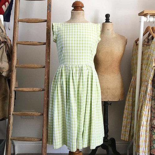 """True Vintage 1950s Lime Gingham Dress W32"""" UK12 14"""